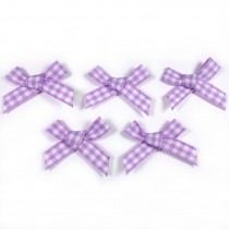 Gingham Check Ribbon Bows 3cm wide Lilac Pack of 5