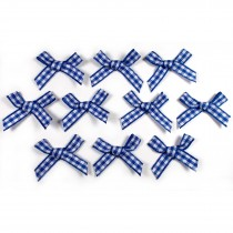 Gingham Check Ribbon Bows 3cm wide Navy Blue Pack of 10
