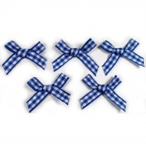 Gingham Check Ribbon Bows 3cm wide Navy Blue Pack of 5