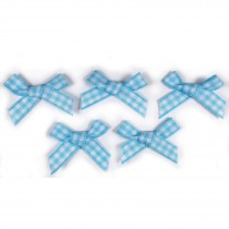 Gingham Check Ribbon Bows 3cm wide Pale Blue Pack of 5