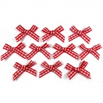 Gingham Check Ribbon Bows 3cm wide Red Pack of 10