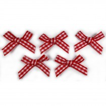 Gingham Check Ribbon Bows 3cm wide Red Pack of 5
