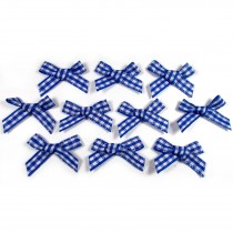 Gingham Check Ribbon Bows 3cm wide Royal Blue Pack of 10