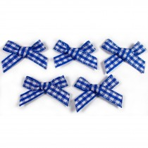 Gingham Check Ribbon Bows 3cm wide Royal Blue Pack of 5
