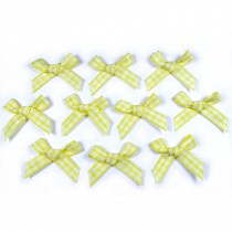 Gingham Check Ribbon Bows 3cm wide Yellow Pack of 10