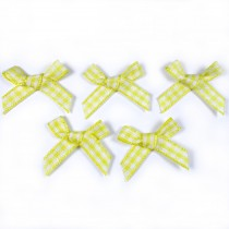 Gingham Check Ribbon Bows 3cm wide Yellow Pack of 5
