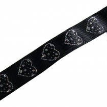 Glitter Hearts Ribbon 15mm Wide Black 1 metre length