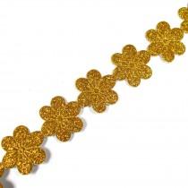 Glitter Trim Daisy Flower 24mm wide Gold 1 metre length