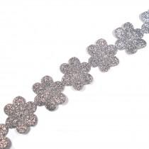 Glitter Trim Daisy Flower 24mm wide Silver 1 metre length