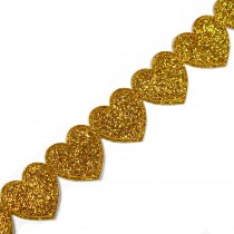 Glitter Trim Heart 16mm wide Gold 1 metre length