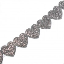Glitter Trim Heart 16mm wide Silver 1 metre length