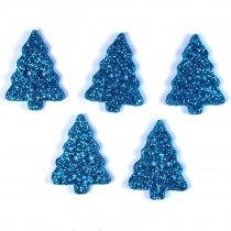 Glitter Xmas Christmas Tree Buttons 20mm x 15mm Blue Pack of 5