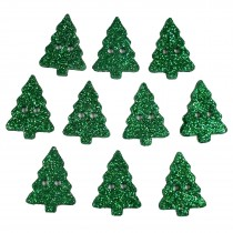 Glitter Xmas Christmas Tree Buttons 20mm x 15mm Green Pack of 10