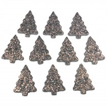 Glitter Xmas Christmas Tree Buttons 20mm x 15mm Silver Pack of 10