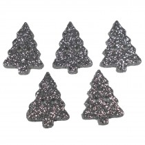 Glitter Xmas Christmas Tree Buttons 20mm x 15mm Silver Pack of 5