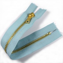 Gold Metal Trouser Jeans Zip Zipper 7 inch Light Blue