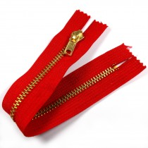 Gold Metal Trouser Jeans Zip Zipper 6 inch Red