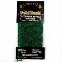 Gold Rush Metallic Decorative Glitter Embroidery Thread - 10 Metre Card Green