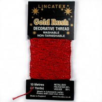 Gold Rush Metallic Decorative Glitter Embroidery Thread - 10 Metre Card Red