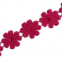 Guipure Daisy Flowers Lace Trim Applique 25mm Pink 1 metre length