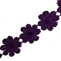 Guipure Daisy Flowers Lace Trim Applique 25mm Purple 2 metre length