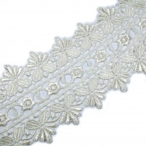 Guipure Double Fan Lace 85mm wide Ivory 1 metre length