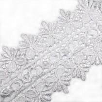 Guipure Double Fan Lace 85mm wide White 2 metre length
