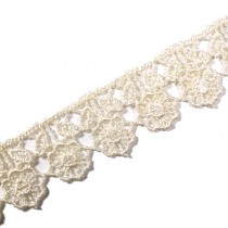 Guipure Flower with Leaves Lace 18mm Wide Natural Cream 3 metre length