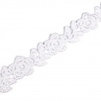 Rose Flower Guipure Lace 15mm wide White 1 metre length