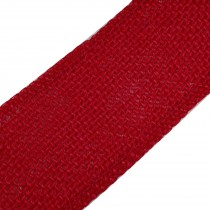 Rustic Hessian Wired Edge Ribbon 70mm wide Red 3 metre length