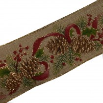 Traditional Style Wired Hessian Xmas Christmas Ribbon 60mm wide Fir Cone 3 metre length