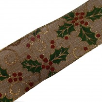 Traditional Style Wired Hessian Xmas Christmas Ribbon 60mm wide Holly 3 metre length