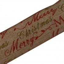 Traditional Style Wired Hessian Xmas Christmas Ribbon 60mm wide Merry Xmas 3 metre length