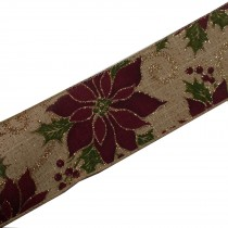 Traditional Style Wired Hessian Xmas Christmas Ribbon 60mm wide Poinsettia 3 metre length