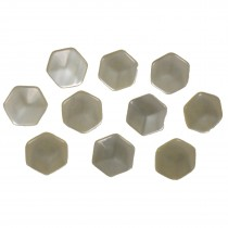 Hexagon Shape Cube Effect Buttons 11mm Ivory Pack of 10