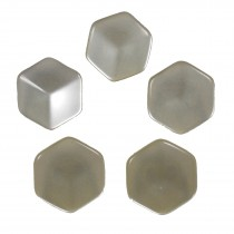 Hexagon Shape Cube Effect Buttons 11mm Ivory Pack of 5