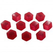 Hexagon Shape Cube Effect Buttons 18mm Red Pack of 10