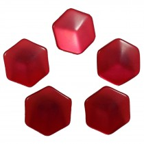 Hexagon Shape Cube Effect Buttons 18mm Red Pack of 5