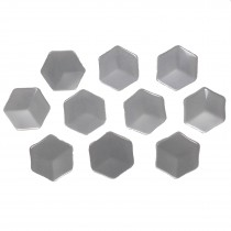 Hexagon Shape Cube Effect Buttons 11mm White Pack of 10