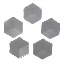 Hexagon Shape Cube Effect Buttons 11mm White Pack of 5