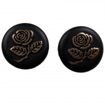 Inlaid Rose Flower Buttons - Black with Gold Rose 25mm Pack of 2