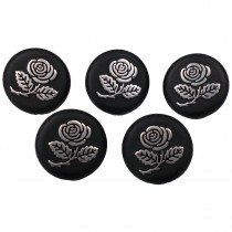 Inlaid Rose Flower Buttons - Black with Silver Rose 25mm Pack of 5