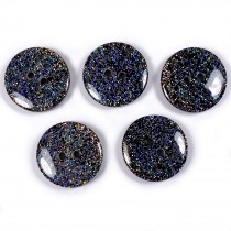 Iridescent Glitter Round 2 Hole Buttons 22mm Black Pack of 5
