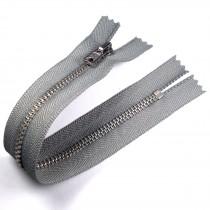 Silver Metal Trouser Jeans Zip Zipper 10 inch Light Grey