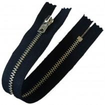 Silver Metal Trouser Jeans Zip Zipper 10 inch Blue