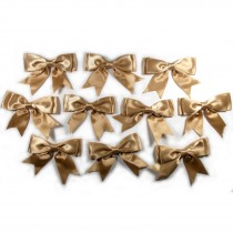 Large Satin Ribbon Double Bows 8cm wide Beige Pack of 10