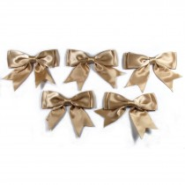 Large Satin Ribbon Double Bows 8cm wide Beige Pack of 5