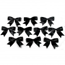 Large Satin Ribbon Double Bows 8cm wide Black Pack of 10