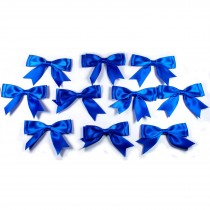 Large Satin Ribbon Double Bows 8cm wide Blue Pack of 10
