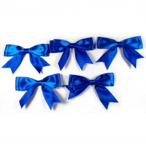 Large Satin Ribbon Double Bows 8cm wide Blue Pack of 5